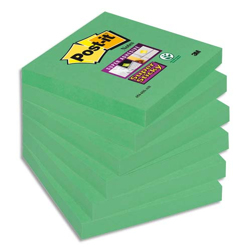 Code 303560, Désignation: POST-IT Lot de 6 blocs Super Sticky 90 feuilles vert olive 76 x 76 mm